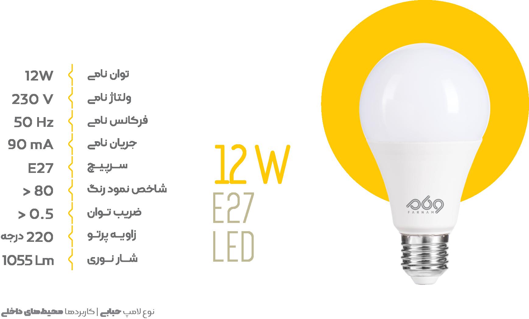 لامپ حبابی 12 وات ال ای دی