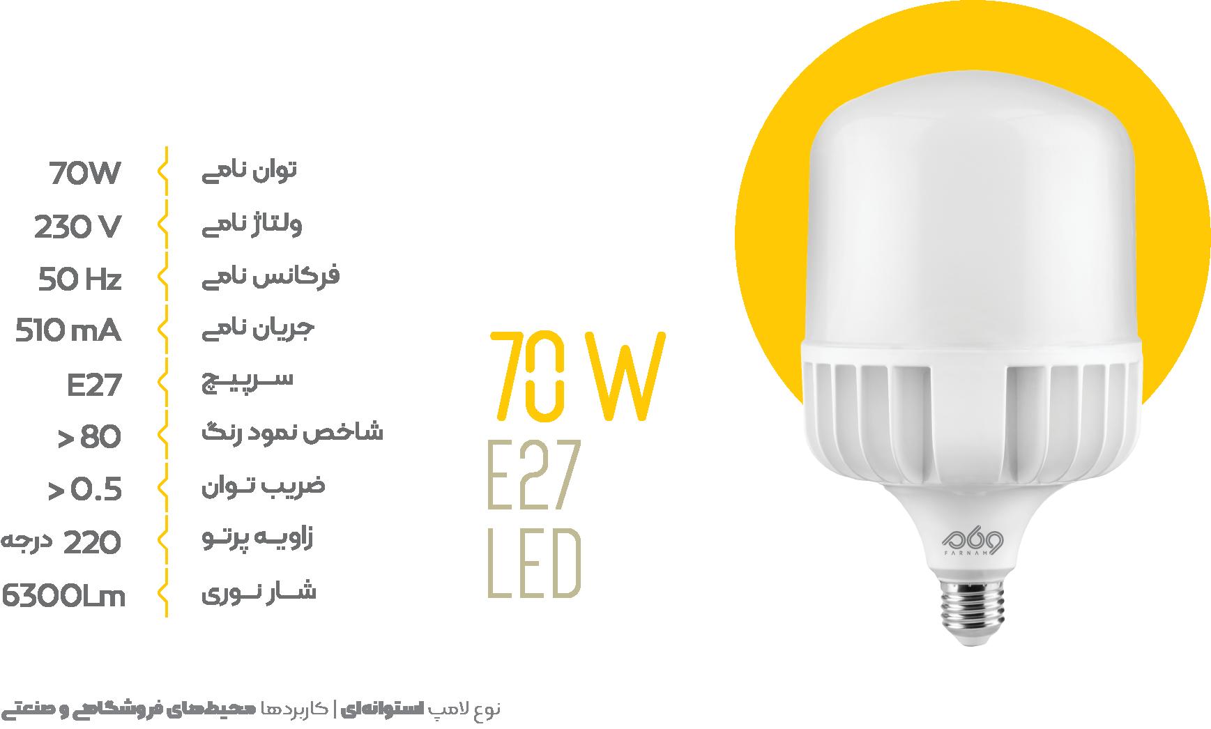 لامپ 70 وات استوانه ای فرنام